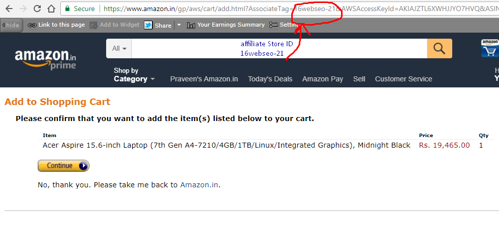 redirect to amazon.in